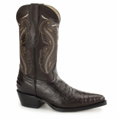 INDIANA Ladies Croc Leather Cuban Heel Cowboy Boots Brown