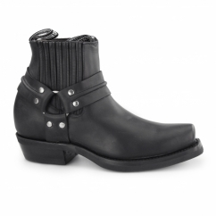 RENEGADE LO Unisex Leather Harness Biker Boots Black