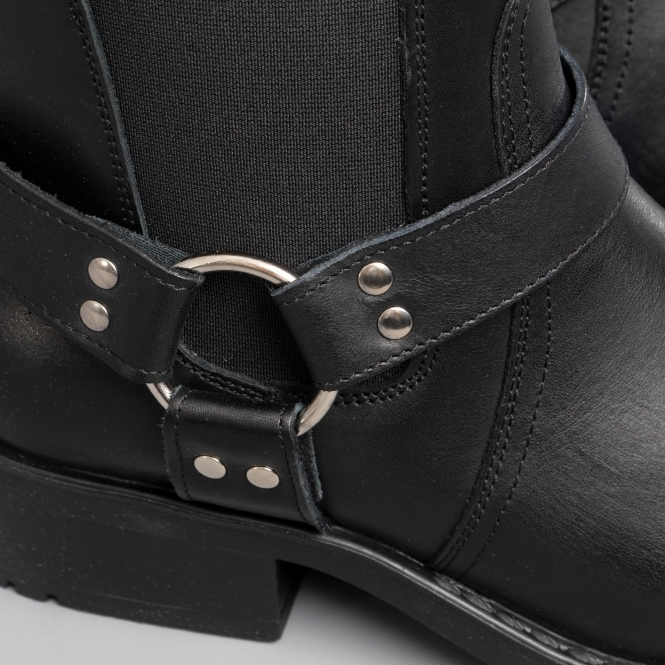 371ce947392 HARLEY Mens Leather Ankle Biker Cowboy Boots Black