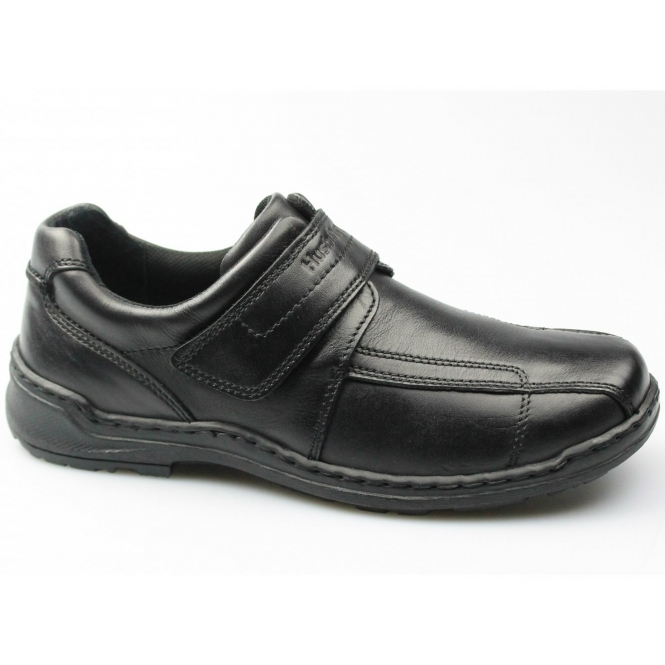 Hush Puppies GROUNDS VELCRO Mens Napoli Leather Dual Fit Shoes Black
