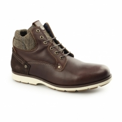 GROVE Mens Leather Tweed Lace Up Boots Mahogany
