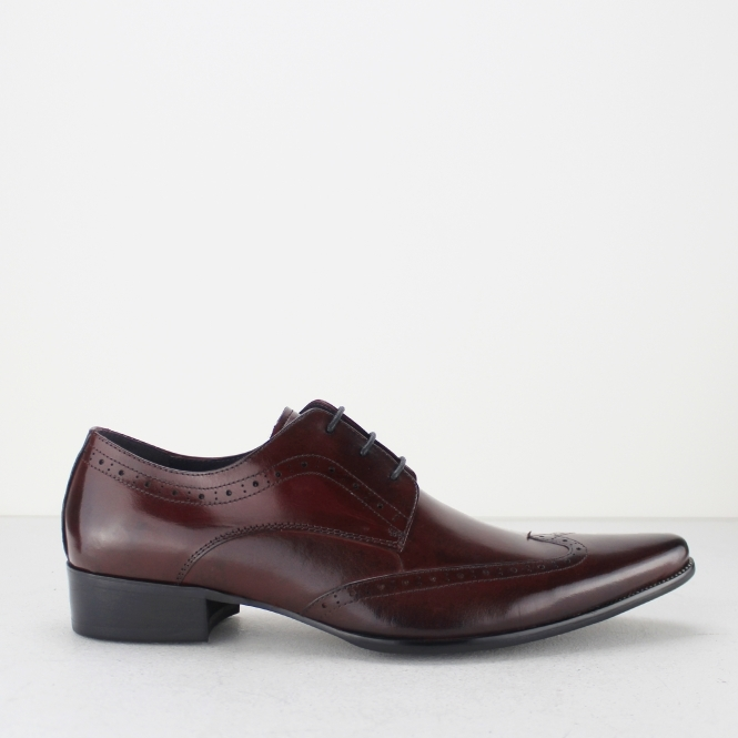 Gucinari AREZZO II Mens Leather Lace Up Cuban Heel Shoes Oxblood