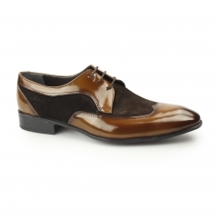 ARTUS Mens Formal Suede/Patent Derby Shoes Tobacco/Brown