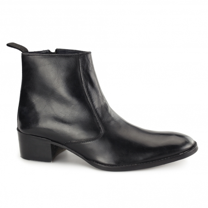 Gucinari ATRANI Mens Leather Side Zip Ankle Boots Black