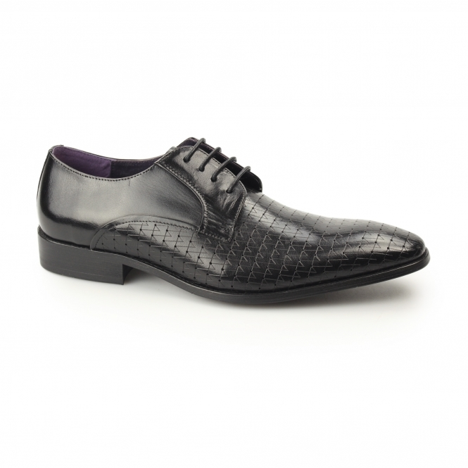 Gucinari BESO Mens Leather Laser Cut Derby Shoes Black