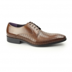 BESO Mens Leather Laser Cut Derby Shoes Tan