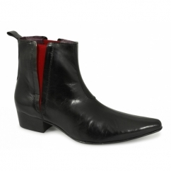 BRUNO Mens Cuban Heel 'Red Line' Pointed Boots Black