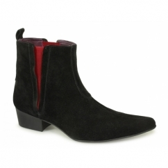 Gucinari Mens Suede Cuban Heel 'Red Line' Boots Black