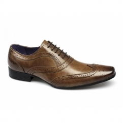 CAPONE Mens Leather Brogue Shoes Tan