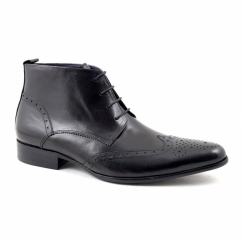 EDRIS Mens Leather Lace-Up Pointed Brogue Boots Black