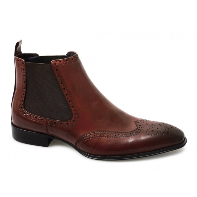 Gucinari EDWARD Mens Chelsea Gusset Brogue Boots Red