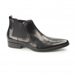 ELBA Mens Leather Pointed Brogue Chelsea Boots Black