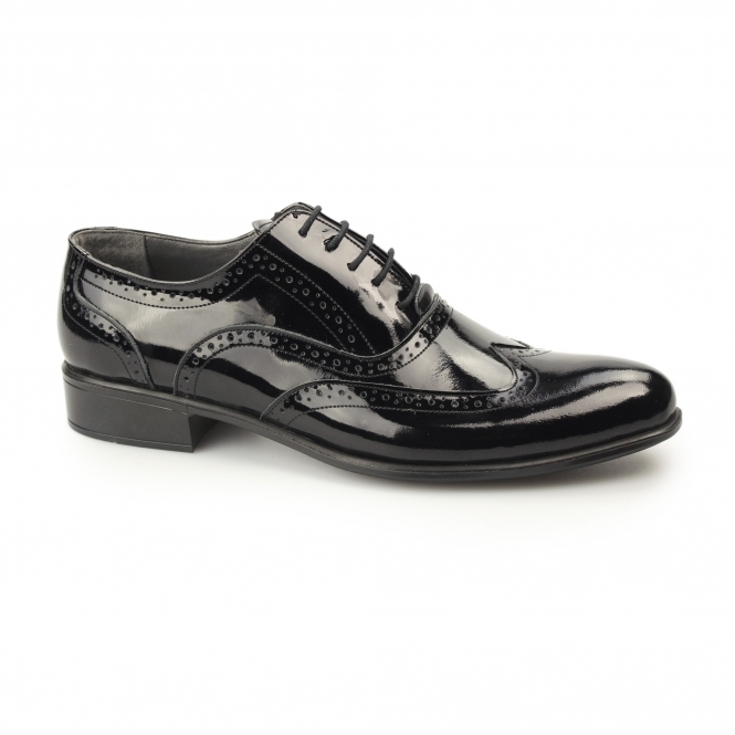 Gucinari ERNST Mens Patent Leather Brogue Shoes Black