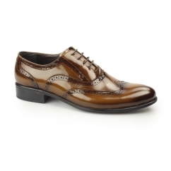 ERNST Mens Patent Leather Brogue Shoes Tobacco
