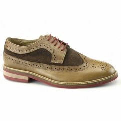 FRANKIE Mens Leather & Suede Brogue Shoes Brown
