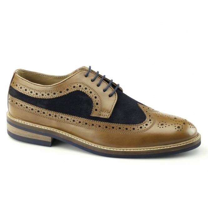 Gucinari FRANKIE Mens Leather & Suede Brogue Shoes Tan/Navy