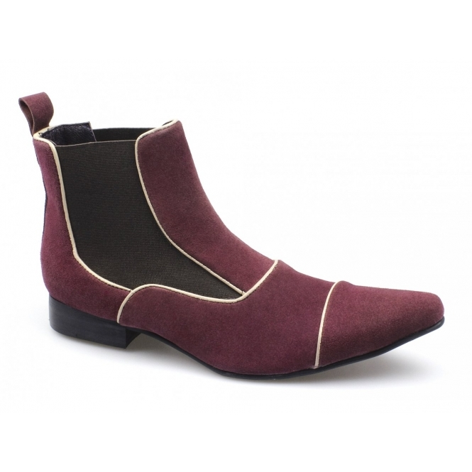 Gucinari GIORGIO Mens Suede Pointed Chelsea Boots Burgundy