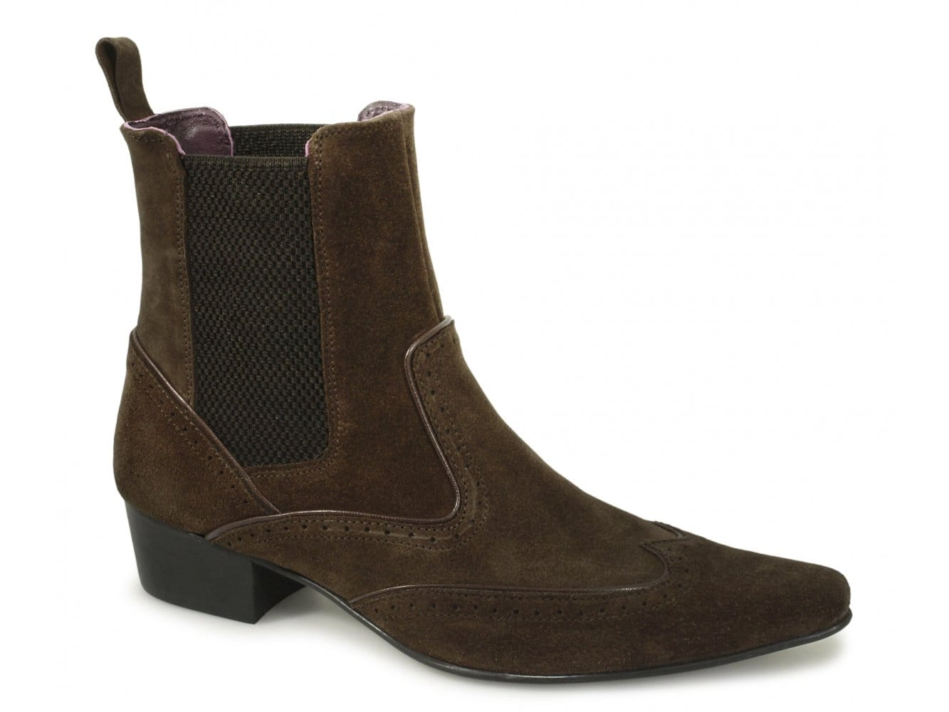 936a39a75e8 Gucinari HARLEY Mens Pointed Suede Brogue Chelsea Boots Brown