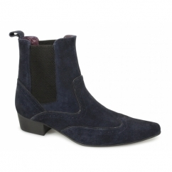 HARLEY Mens Pointed Suede Brogue Chelsea Boots Navy