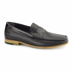 LAVENZO Mens Leather Textured Penny Loafers Black
