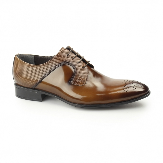 Gucinari LOKE Mens Polished Leather Derby Brogues Tobacco