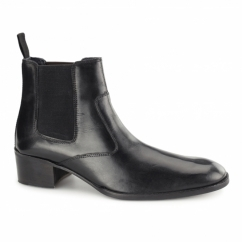 LUCCA Mens Leather Chelsea Boots Black