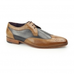 MILLE Mens Leather Contrast Derby Brogues Tan/Navy