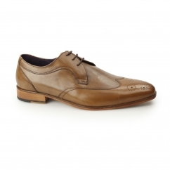 Gucinari MILLE Mens Leather Smart Derby Shoes Brogues Tan