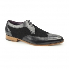 Gucinari MILLE Mens Leather/Suede Derby Brogue Shoes Black