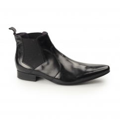 NADAL Mens Leather Winklepicker Chelsea Boots Black