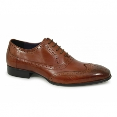 PARMA Mens Leather Lace Up Brogue Shoes Rustic Cherry