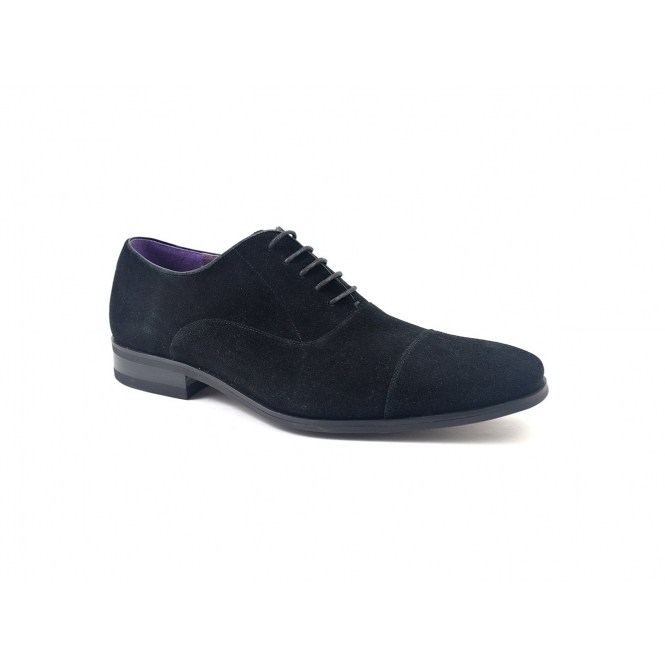 Gucinari PETRUS Mens Suede Cap Toe Oxford Shoes Black