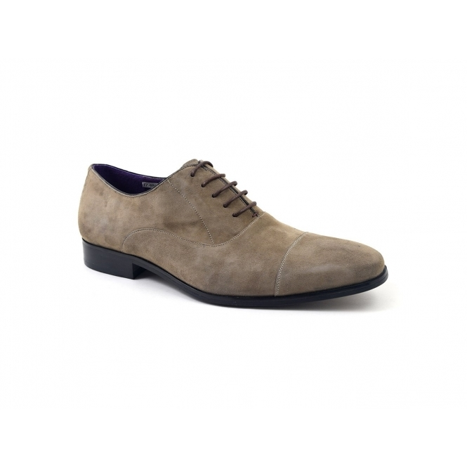 PETRUS Mens Suede Cap Toe Oxford Shoes Taupe