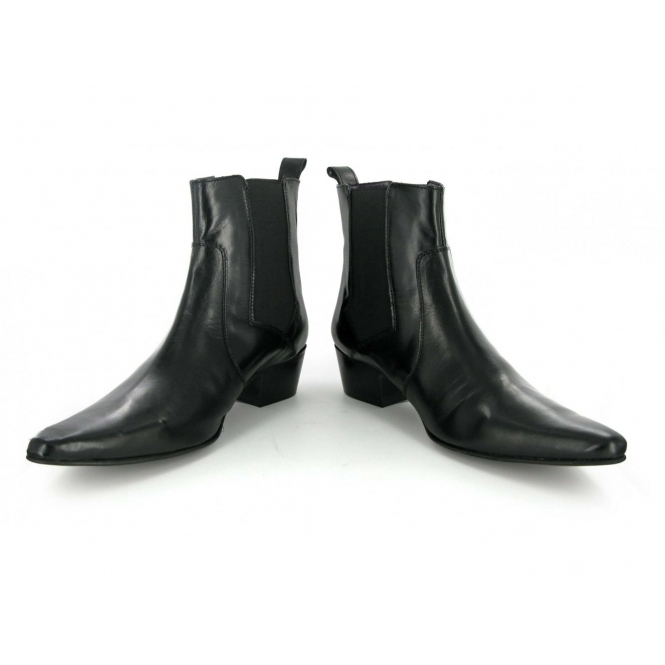 Gucinari Mens Shiny Winklepicker Chelsea Boots Black | Buy At Shuperb