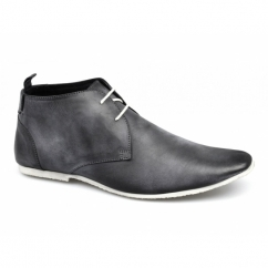 SAMUEL Mens 2 Eye Leather Desert Boots Black