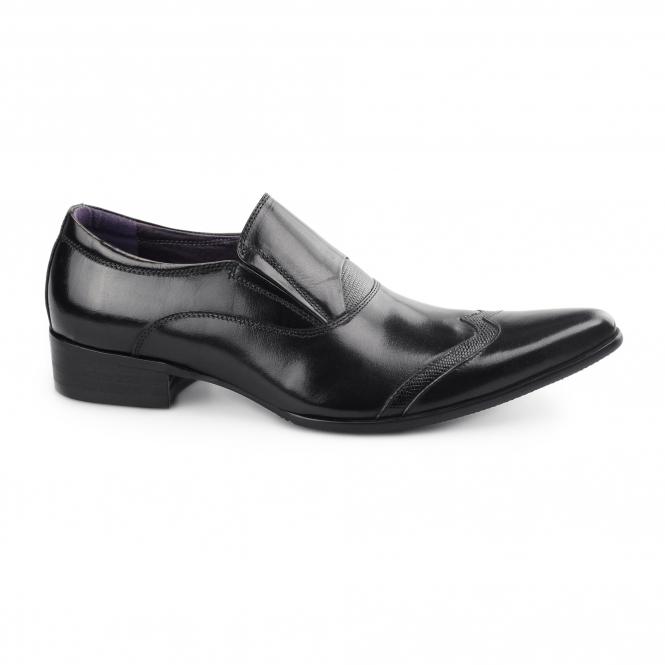 Club Cubano CARLUCCIO Mens Leather Slip On Formal Smart Cuban Heel Shoes Black