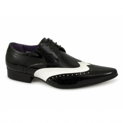 TAMINO Mens Brogue Patent Shoes Black & White