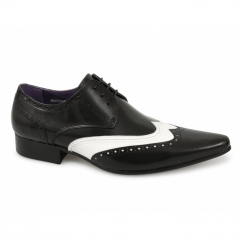 TAMINO Mens Funky Brogue Shoes Black & White