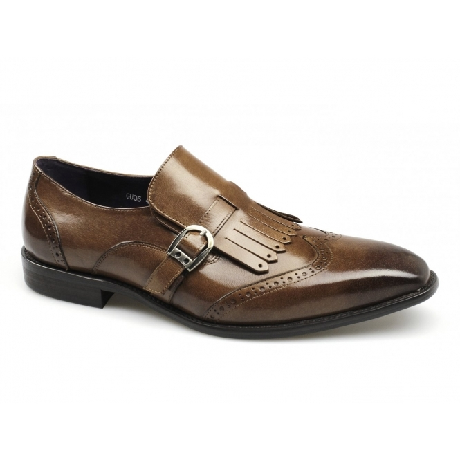 Gucinari TIAGO Mens Burnished Leather Buckle Brogue Fringe Shoes Tan