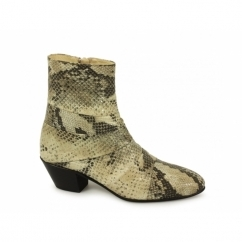GUILLERMO Mens Cuban Heel Snakeskin Leather Boots Natural