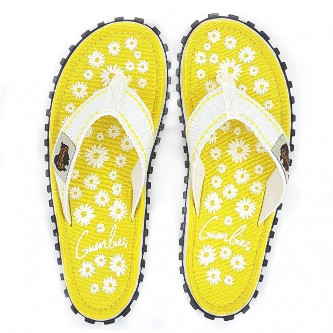 9d58b9c8088bf7 Gumbies ISLANDER Ladies Canvas Flip Flops Daisy Yellow