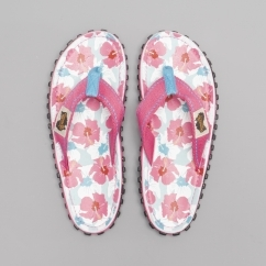 ISLANDER Ladies Canvas Flip Flops Mixed Hibiscus