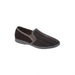 GUY Mens Velour Full Slippers Brown