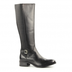 GWENDOLINE Ladies Leather Zip Up Riding Boots Black