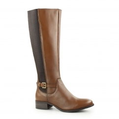 GWENDOLINE Ladies Leather Zip Up Riding Boots Cognac
