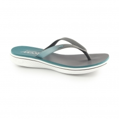 H2 GOGA-SPLASH Ladies Toe Post Flip Flops Charcoal/Teal