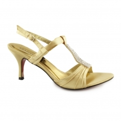 H20043 Ladies Buckle Diamante Stiletto Heels Gold