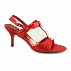 H20043 Ladies Buckle Diamante Stiletto Heels Red