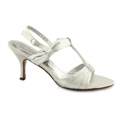 H20043 Ladies Buckle Diamante Stiletto Heels Silver