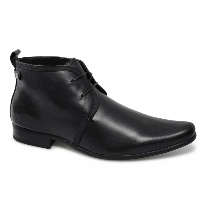 Front HALLAND Mens Leather Lace-Up Chukka Boots Black